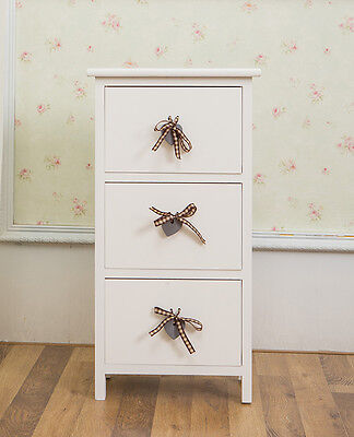 White Wooden Bedside Unit with Heart Drawer Pulls - Ideal for Children's Bedside