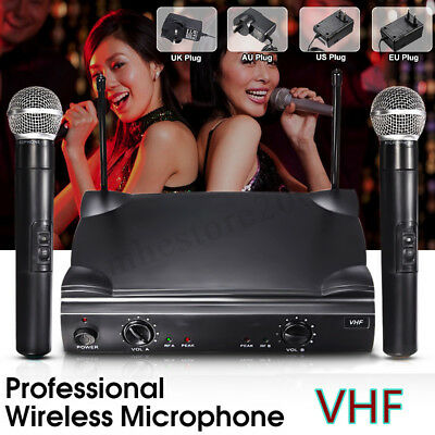 3w Dual Professional Wireless Cordless Microphone System Handheld Mic US Plug
