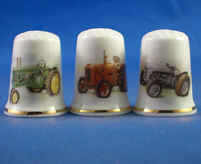 Fine Porcelain China Thimbles - Set Of Three Vintage Tractors