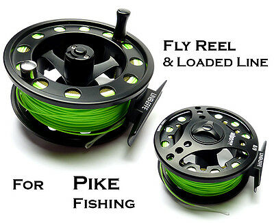 All ALLOY #8/9 FLY REEL & Loaded Twin Fly Line FOR PIKE FLY FISHING (55084)