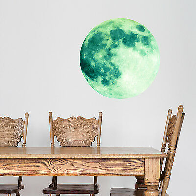 Decoration Decal Home Art Mural Glow Dark Moon Green Wall Stickers 40cm x 40cm