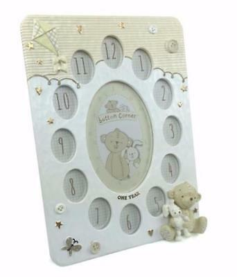 Baby Resin Photo Frame My First Year 12 Month Slots Teddy and Rabbit CG1209