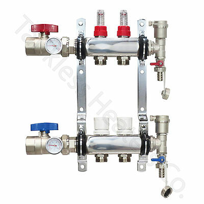 2-Branch PEX Radiant Floor Heating Manifold Set Stainless Steel