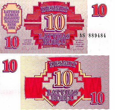 LATVIA 10 Rubli Banknote World Money UNC Currency Europe BILL pick p38 Note 1992