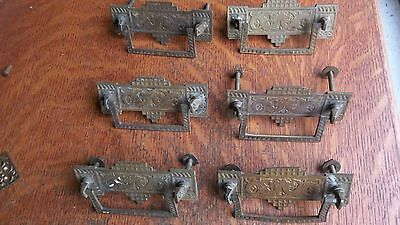 Six Antique Fancy Brass Dragon Victorian Eastlake Drawer Pulls w/ Bails c1885