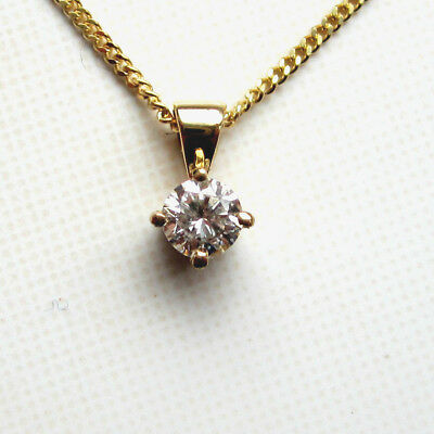 New. 50ct Champagne Diamond Solitaire 9ct Yellow Gold Pendant & Chain £275