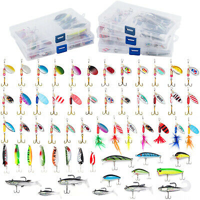 60pcs Fall Fishing Lures Spinners Spoon Crankbaits Shads Trout Bass 5 Lure Boxes