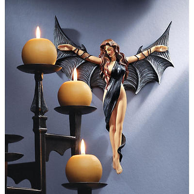 Midnight Winged Temptress Vampire Wall Sculpture Gothic Halloween Prop