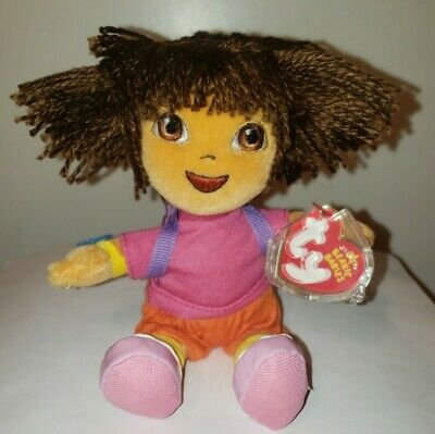 Ty Beanie Baby ~ DORA the EXPLORER (Yarn Hair Version) - MINT with MINT TAGS
