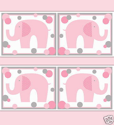 Pink Grey Gray Polka Dot Elephant Wallpaper Border Wall Decal Baby Girl Nursery