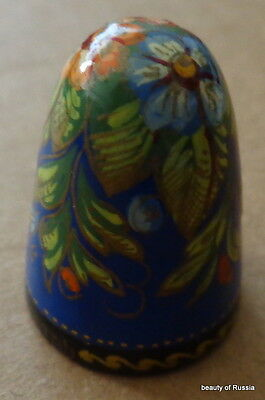HAND PAINTED WOOD  RUSSIAN THIMBLE flowers #2