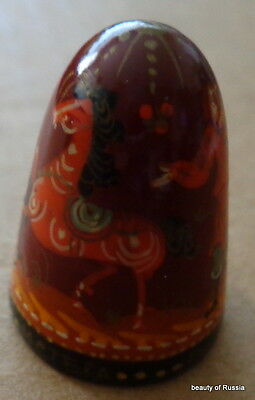 HAND PAINTED WOOD  RUSSIAN THIMBLE fairy tales    #1