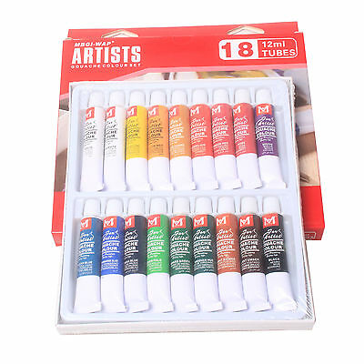 18 Color 12ml Paint Tube Draw Painting Gouache Color Artists Set
