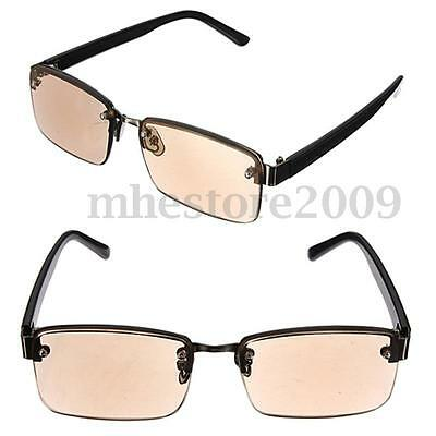 Fashion Unisex Brown Crystal Half Rimed Reading Glasses Sunglasses Spectacles