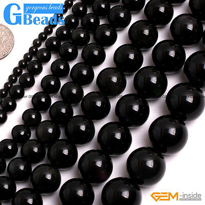 "Natural Black Obsidian Gemstone Round Beads For Jewellery Making 15""4mm 6mm 8mm"