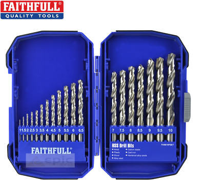 Faithfull 19 Piece 1mm-10mm Metrico HSS Terreno Set di Punte per Trapano +