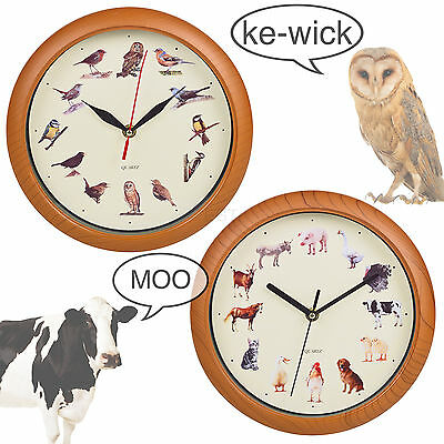 Yard Animal Print Wall Clock Musical Sounds Battery Operated Kitchen Kids Design