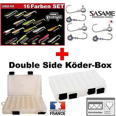 16 Colors Set Fox Rage Zander Pro with SASAME JAPAN Jig Hook + Double Side Box