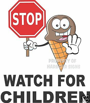 """Stop Watch for Children Vinyl Decal 14"""" Concession Ice Cream Food Truck Cart"""