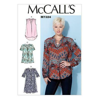McCALL'S SEWING PATTERN MISSES' LOOSE FITTING TOPS & TUNICS SIZES 8 - 22 M7324