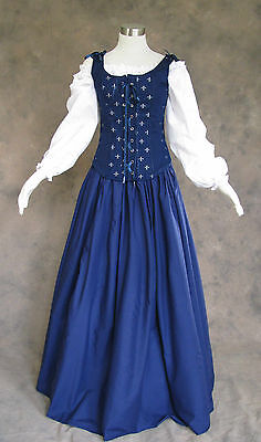 Navy Blue Renaissance Bodice Skirt Chemise Medieval Cosplay Pirate Gown Dress 2X