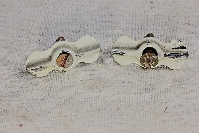 "2 Jelly cupboard cabinet 1 1/2"" bow tie turn button latches vintage white on tin"