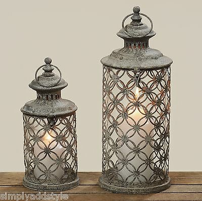 Antiqued Vintage Style Moroccan Style Lanterns Set of Two