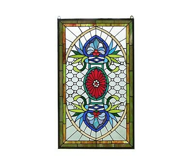 """SOLD OUT! 20.75"""" x 34.75"""" Decorative Jeweled Tiffany Style stained glass panel"""