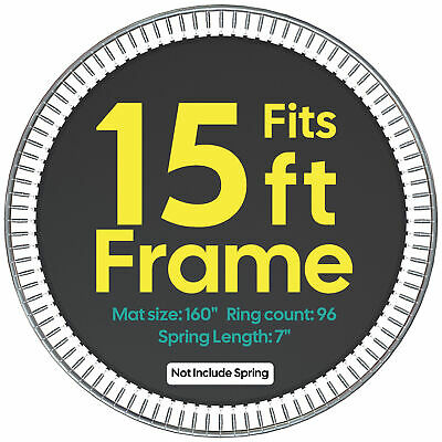 """13.3' Waterproof Trampoline Mat 96 Rings for 15' Frame 7"""" Spring 8R Stitching"""