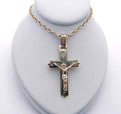 Russian 14k Pink Rose Gold Chain Necklace with two-tone gold CROSS
