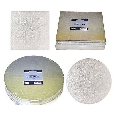 Professional Quality Heavy Silver Cake Boards Drum Base Sizes 12mm Bakers Kit