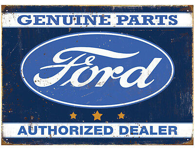 Ford Authorized Dealer Tin Metal Wall Art Sign / Plaque