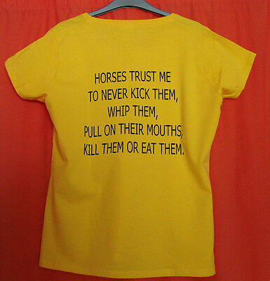 HORSES TRUST ME TEE SHIRT in yellow. LADIES. Great gift idea for horse lovers