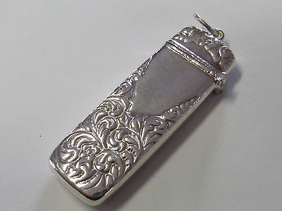 Rectangular Sterling Silver Ornate  Needle Case - New
