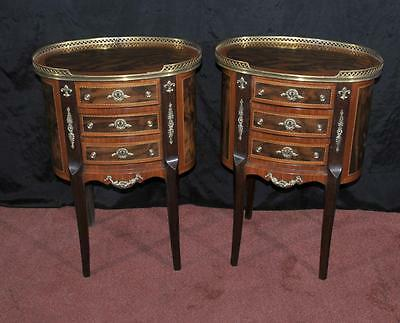 Pair Victorian Bedside Tables Nightstands Chests Drawers