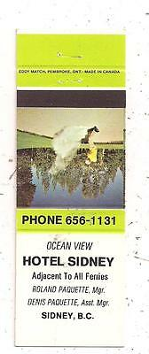 Hotel Sidney Roland & Denis Paquette Sidney BC Matchcover 011816