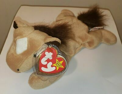 Ty Beanie Baby ~ DERBY the Horse with Furry / Fluffy Mane ~ MINT with MINT TAGS