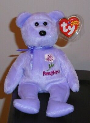 Ty Beanie Baby ~ PENNSYLVANIA MOUNTAIN LAUREL the Flower Bear (Exclusive) ~ MWMT