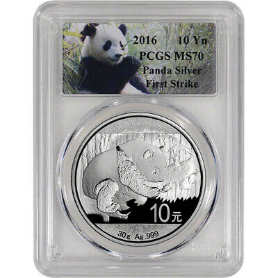 2016 China Silver Panda (30 g) 10 Yuan - PCGS MS70 - First Strike Panda Label