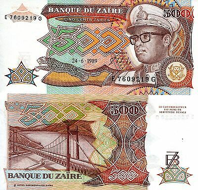 ZAIRE 500 Zaires Banknote World Paper Money Currency Pick p34 Mobutu (Congo)