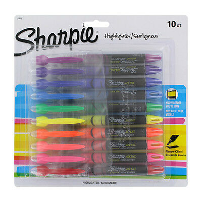 """Sharpie Accent Liquid Pen Style Highlighter, Chisel Tip, Assorted, 10/set"""