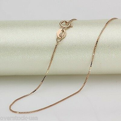 FINE 18 INCH Solid 18K Rose Gold Necklace Box Link Chain Au750