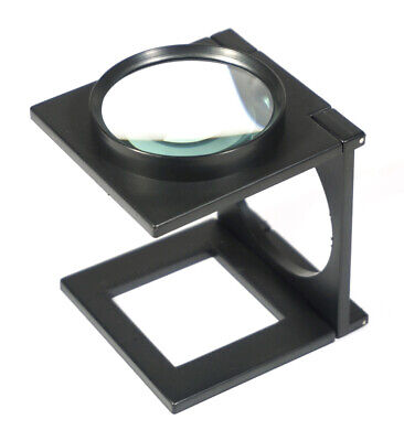 """3X Folding Table Magnifier 2 1/2"""" Glass Lens Self Standing Optical Tool #MA1025"""
