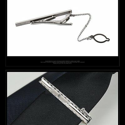 Men Metal Silver Tone Simple Necktie Tie Bar Clasp Clip Clamp Pin GU