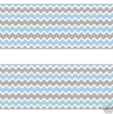 Blue Grey Gray Chevron Wallpaper Border Wall Art Decal Baby Boy Nursery Stickers