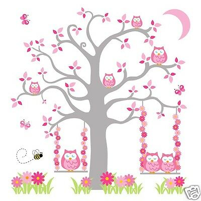 Pink Grey Gray Owl Tree Mural Wall Decal Girl Woodland Animal Nursery Stickers