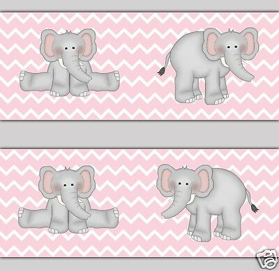 Pink Grey Gray Chevron Elephant Wallpaper Border Wall Decal Girl Safari Animal