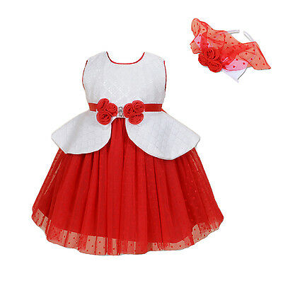 New Flower Girl Party Bridesmaid Dress+Headband in Blue Red 12 Months to 9 Years