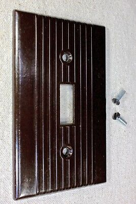 single Switch Plate brown old Bakelite vintage 1900's with screws lines LEVITON