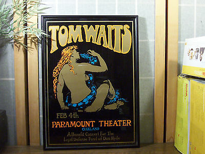 "TOM WAITS PARAMOUNT THEATRE ""DON HYDE BENEFIT"" STANLEY MOUSE POSTER ""Framed"""